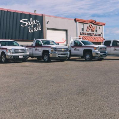 LSM Trucks in Front of Lee's Sheet Metal Office in Grande Prairie