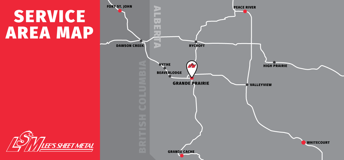 Serving Grande Prairie, Northern Alberta including Grande Cache, Peace River, Valleyview, High Prairie, Peace River, Beaverlodge, Hythe, Whitecourt - LSM Service Area Map